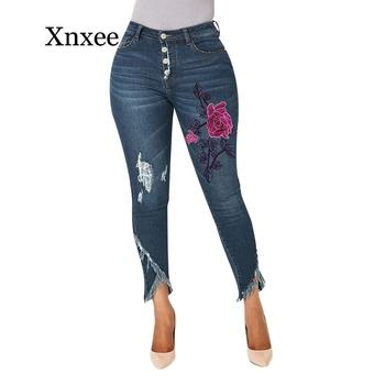 Flower Embroidery Jeans Woman Ripped High Waist Jeans Women Fashion Ladies Slim Denim Pants Irregular Female Pencil Trousers europe new fashion women trousers slim blue jeans woman ripped hole jeans with high waist female pencil pants large size s 2xl