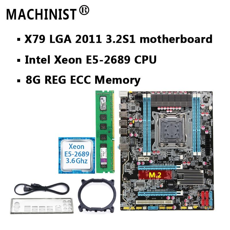 Motherboard Set  X79 LGA 2011 Motherboard With M.2 Slot Intel Xeon E5 2689 2.6GHz RAM 32G(4*8G) REG ECC
