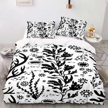 Cartoon Style  240×220 Duvet Cover Set With Pillowcase, 220×260 Quilt Cover, Sketch Plant Pattern King Size Bedding