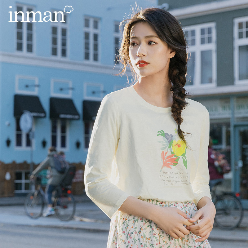 INMAN 2020 Spring New Arriavl Literary Flower Printed Loose All-match Base T-shirt