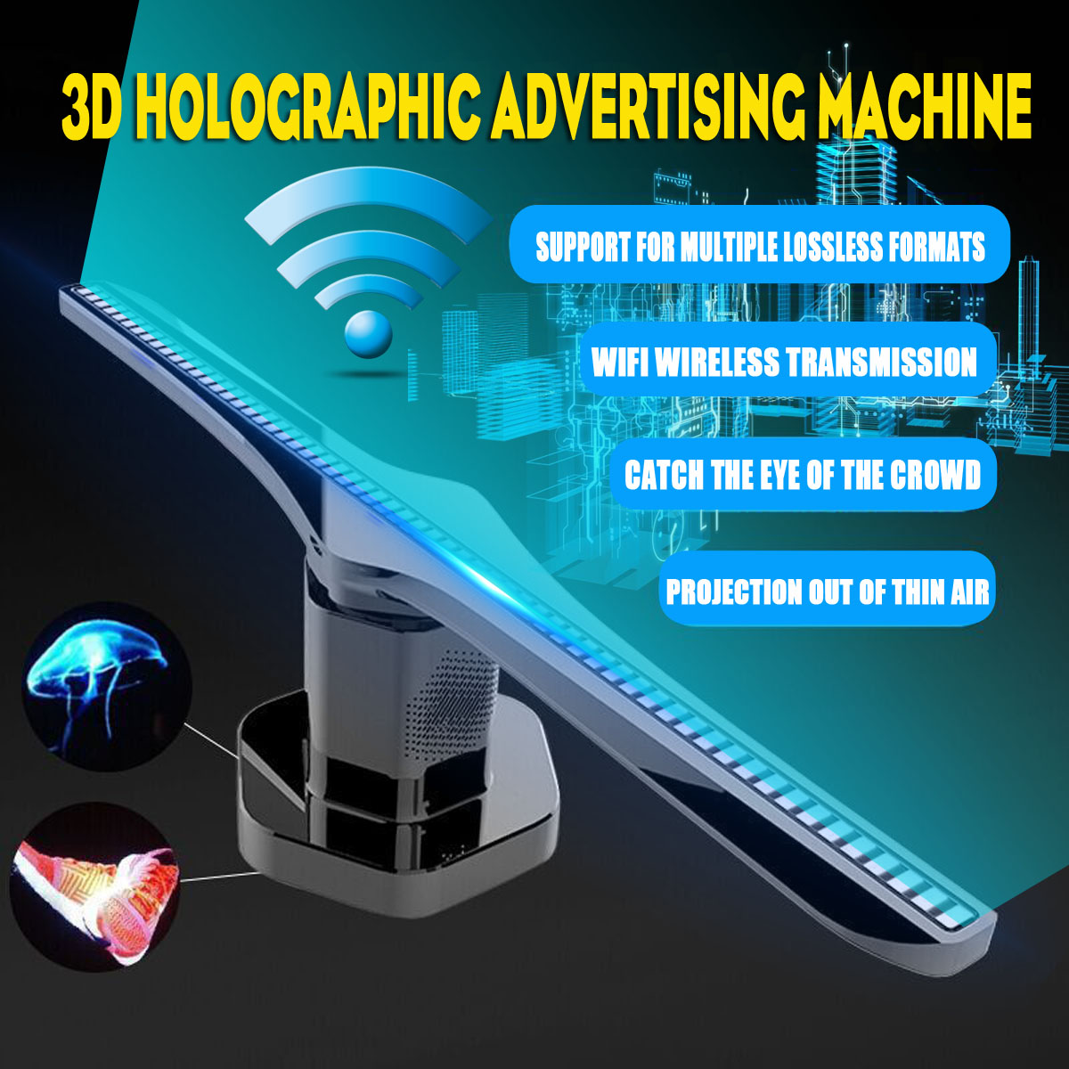 Smuxi 3D Hologram <font><b>Advertising</b></font> Display LED Fan Holographic Imaging LED Fan light 3d Display <font><b>Advertising</b></font> Light Decoration image