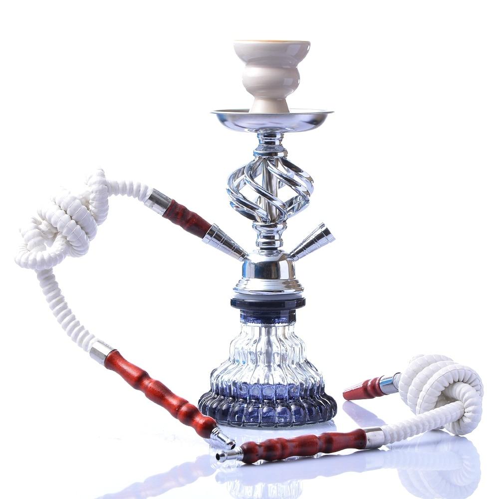 Modern Travel Cloud Hookah Double Hose Glass Shisha Pipe Nargile Chichas with Narguile Hose Bowl Charcoal Tongs Gift Wedding 1