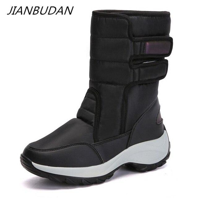 JIANBUDAN 2021 חדש החורף חם שלג מגפיים חיצוני עמיד למים נשים של כותנה מגפי קטיפה נוחות חם נקבה גבוהה למעלה מגפיים