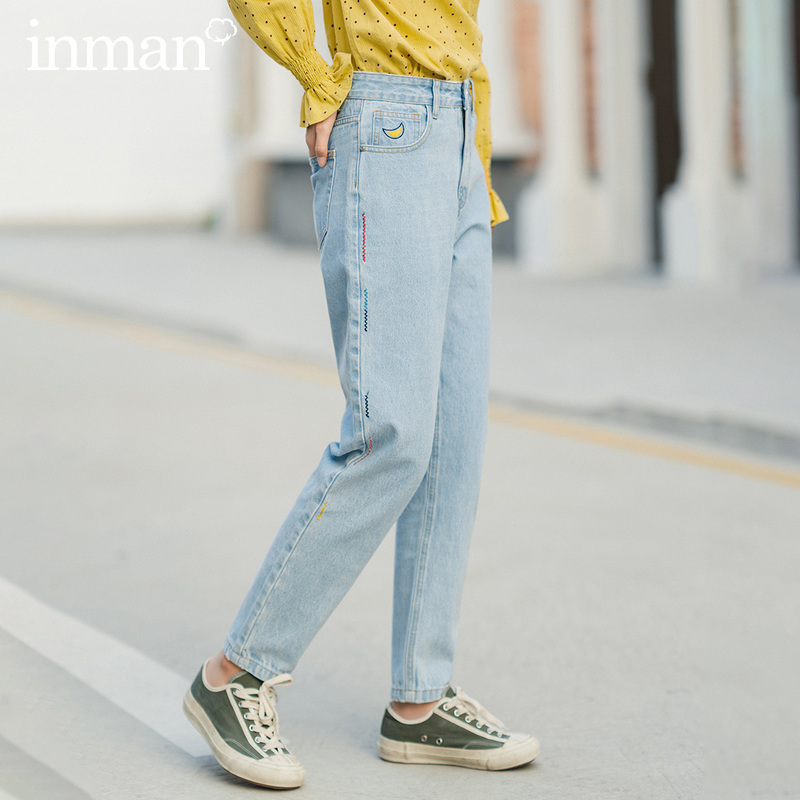 INMAN 2020 Spring New Arrival Simple Design High Waist Showing Fitness Women Causal Comfortable Jeans Pants