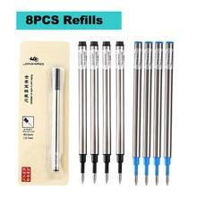 JINHAO – recharge de stylo à bille, 8 pièces, encre noire et bleue, 0.5MM, 0.7MM, accessoires scolaires et de bureau