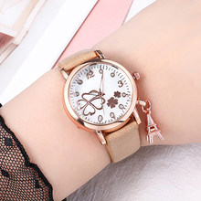 WJ-8474 Fashion Lucky Clover Watches For Ladies Pendant Quartz Wristwatch Leather Strap Rhinestone Luxury Watch Women Dress Gift(China)