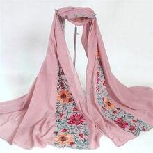 Müslüman başörtüsü Bandana kadın uzun şal pamuk eşarp ve sarar keten şal Foulards işlemeli çiçek viskon eşarp 180*90cm