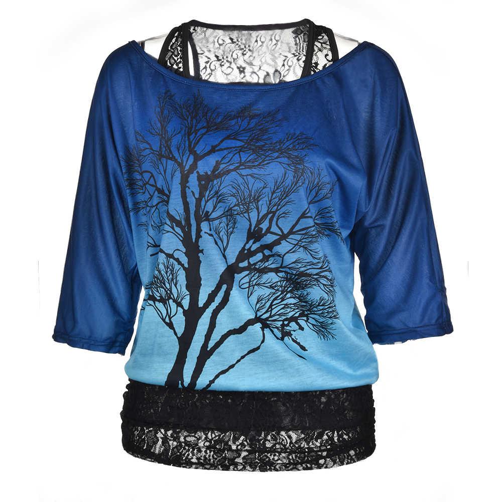 Loose סיבתי עץ מודפס קצר סדיר שרוולים חולצה תחרה כבוי כתף נשים של למעלה