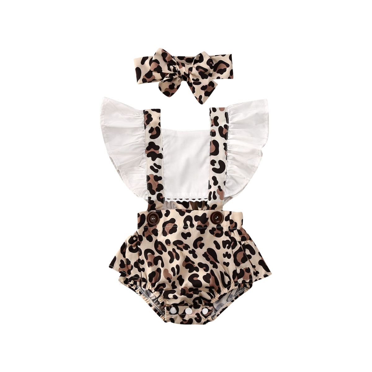 2PCS Infant Baby Girl Leopard Romper Jumpsuit Clothes Outfits Summer 0-24M(China)