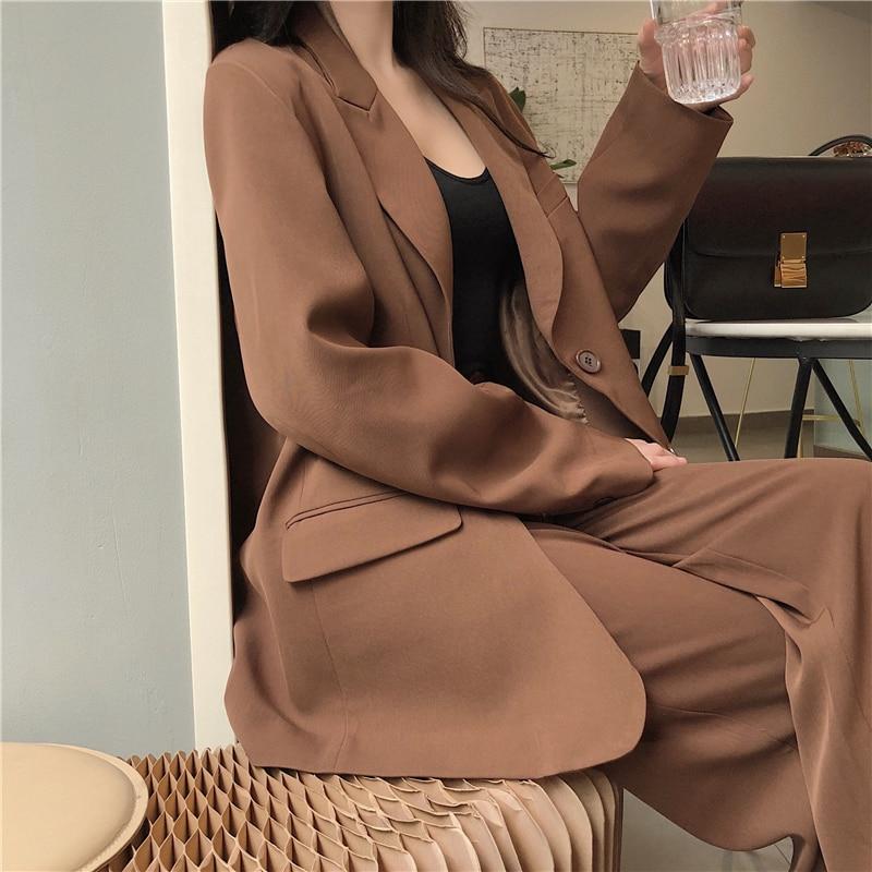 Casual Trousers Women Suit Long Blazer Jacket Feminino+Button Wide Leg Pant 2020 Spring Work Oversize Blazer Pant Suit 2 Piece