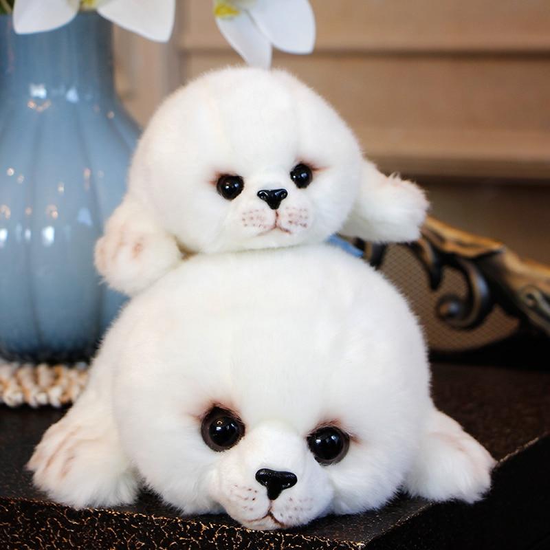 Dropshipping Soft Cute Seals Plush Toy Sea World Animal Sea Lion Plush Stuffed Doll Big Eyes Baby Birthday Gift for Kids Girls(China)
