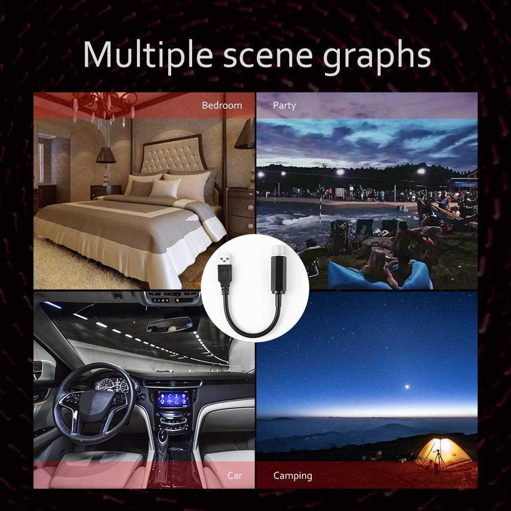 Ambiente del coche luz ambiental estrella coche enchufe USB Lámpara de decoración techo automático luces de estrella Interior Mini LED láser ESTRELLADO