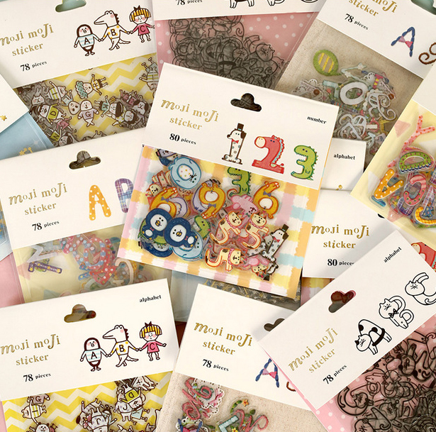 78pcs/pack Numbers Alphabets Sticker Words Recognition Cartoon Patterns Letters Growth Diary Scrapbooking Transparent Stickers