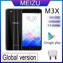 98% novo meizu m3x 3gb 32gb telefone inteligente versão global dupla câmera telefone 3200mah grande bateria mediatek helio p20 tela de 5.5 polegadas