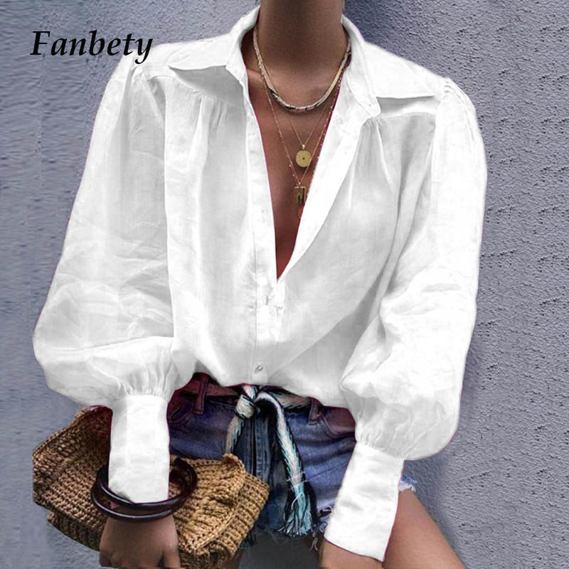 Fanbety 2019 Autumn Notched Collar   Blouse     shirts   women lantern long sleeve button blusa tops Elegant sexy office work   blouses