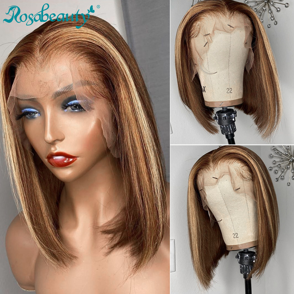 Rosabeauty Human Hair Wig Straight 13x4 Brown Ombre Color Lace Front Human Hair Wig Pre Plucked Colored Wigs Remy Bob Wigs