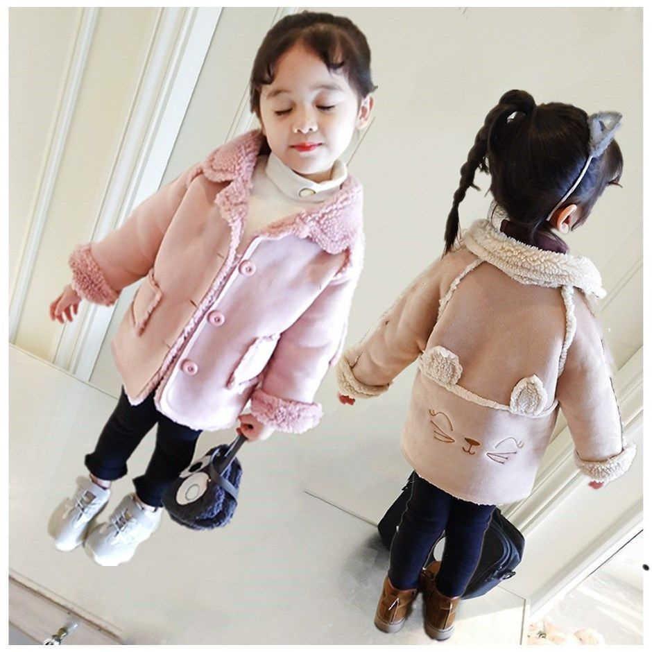 Kids Autumn Winter Thicken Cartoon Coat Fashion Cotton Plus Velvet Keep Warm Jackets For 2-3-4-5-6Y
