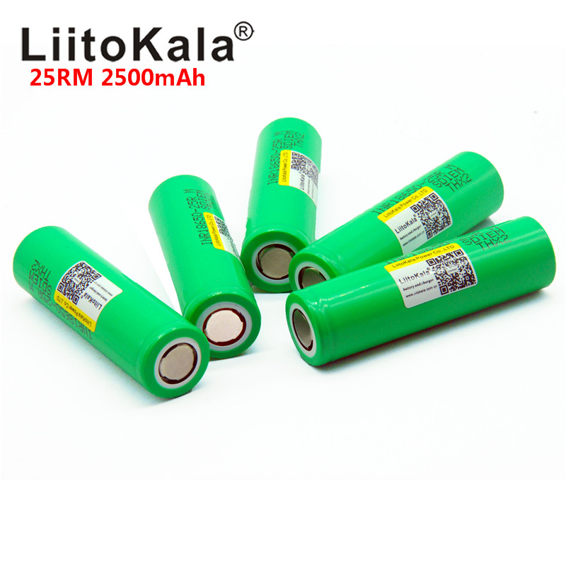 <font><b>LiitoKala</b></font> original New Brand <font><b>18650</b></font> 2500mAh Rechargeable battery 3.6V INR18650 <font><b>25R</b></font> M 20A discharge hot image