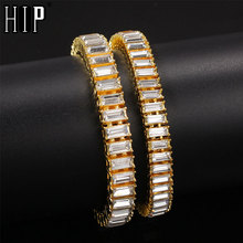 Hip Hop 9.6MM Bling Iced Out Full Rhinestone Bracelet Geometric AAA CZ Stone Chain Bracelets For Men Jewelry