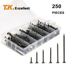 T.K.Excellent #6#8 Black Philips Bugle Head Wood Screws,Coarse Thread Sharp Point Drywall Screws Assortment Kit,250 PCS