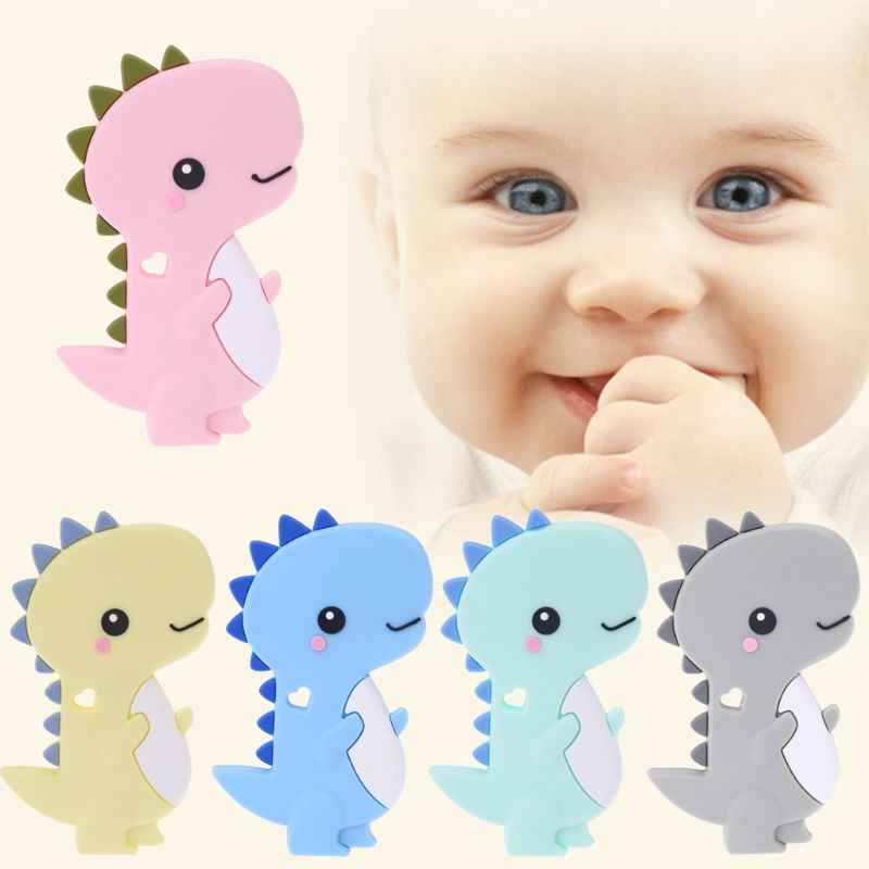 Baby Silicone Teether Newborn Soother Chewable Teething Toy Cartoon Dinosaur Shaped Safety Soft Kids Toys