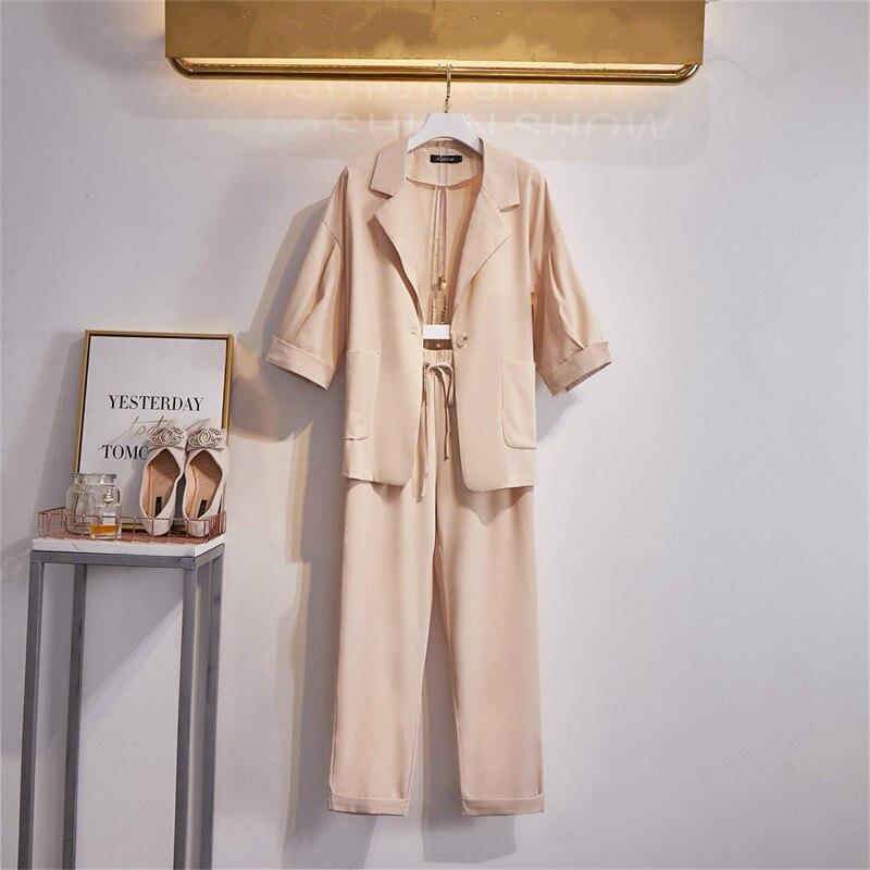 Plus Size L-4XL Business Casual Office Suit Ladies 2 Piece Sets Suits+pants Womens Blazer Jacket Trousers Elegant Loose Clothing