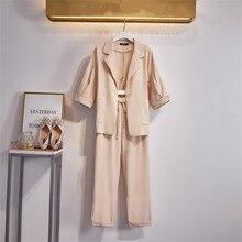 Plus Size L-4XL Business Casual Office Suit Ladies 2 Piece Sets