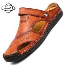 size 38-48 mens sandals summer male sandals Slip-on Cow Leather plus size outdoor solid color Soft b