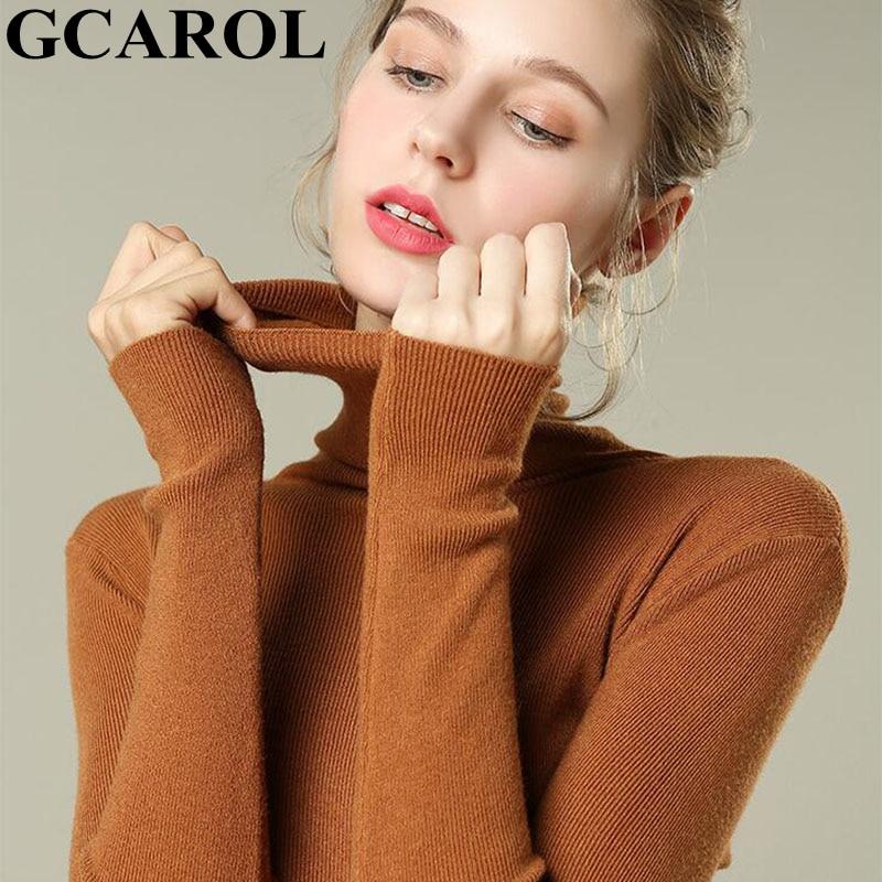 GCAROL New Women Turtleneck Sweater 30% Wool Minimalist Jumper Slim Stretch Spring Fall Winter Base Knit Pullover
