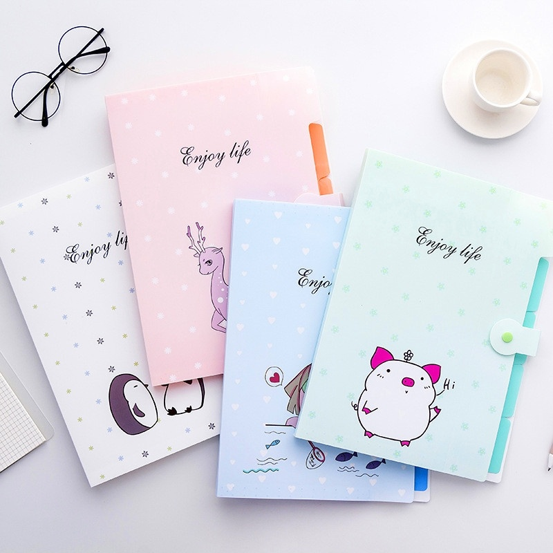 Cartoon A4 File Folders 5 Pockets Office Expanding File Folders Document Organizer With Button Closure Office School Supplies