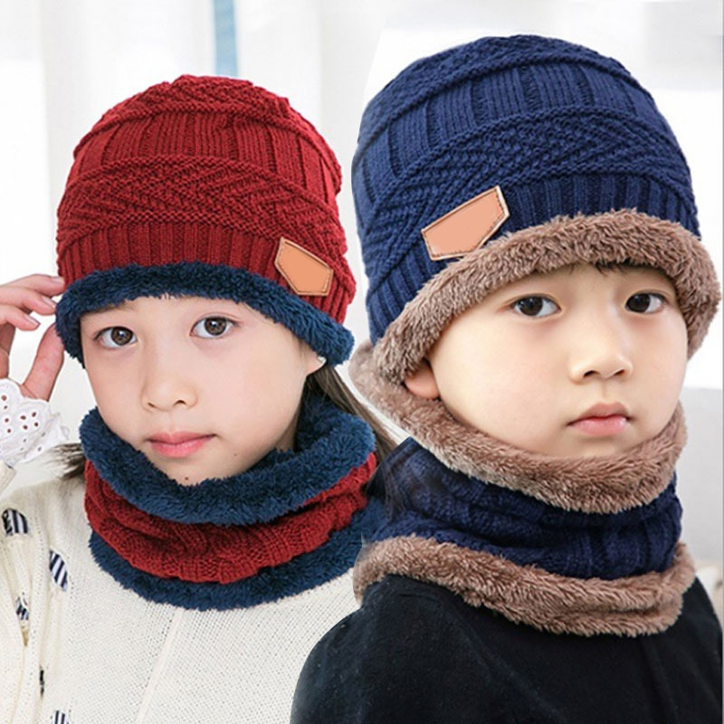 Q Kids Beanies Nice Gift Keep Warm Plush Knitted Ribbed Children Winter Supplies Hat Scarf Set Girl Boys Ring Scarves 2Pcs