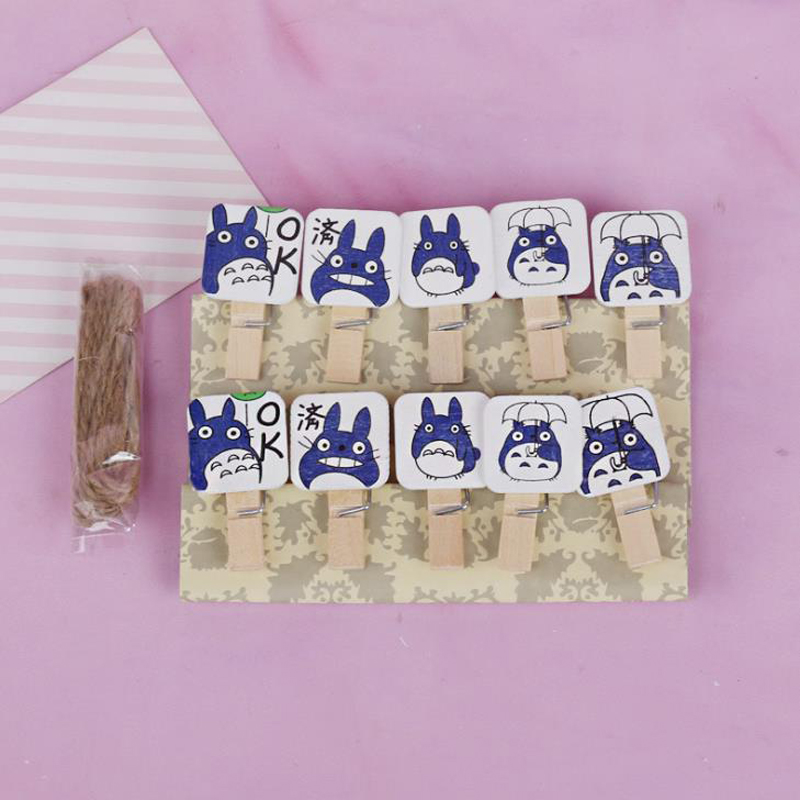 10 Pcs/pack Cartoon Japanese My Neighbor Totoro Wooden Clips Photo Paper Postcard Memo Craft DIY Clips With Hemp Rope Stationery
