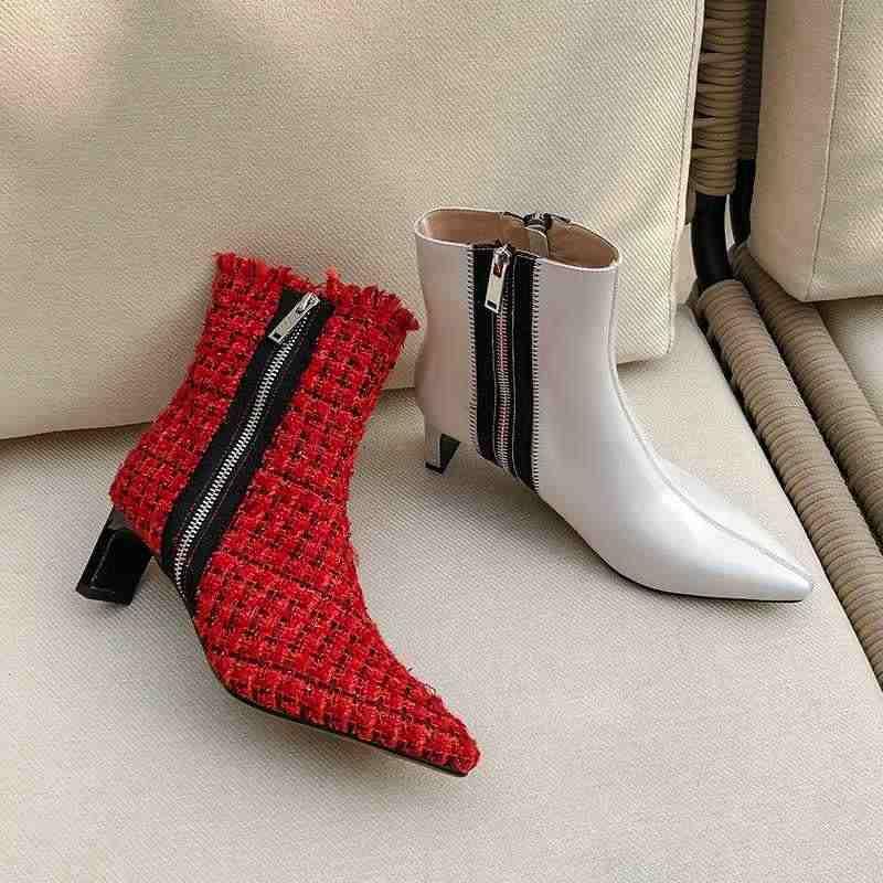 Botas Mujer Mắt Cá Chân Giày Nữ Mới Của Mùa Đông Giày Kẻ Sọc Vải Phối Màu Dây Kéo Giày Cao Gót Giày Nữ Mắt Cá Chân Giày bottes Femme