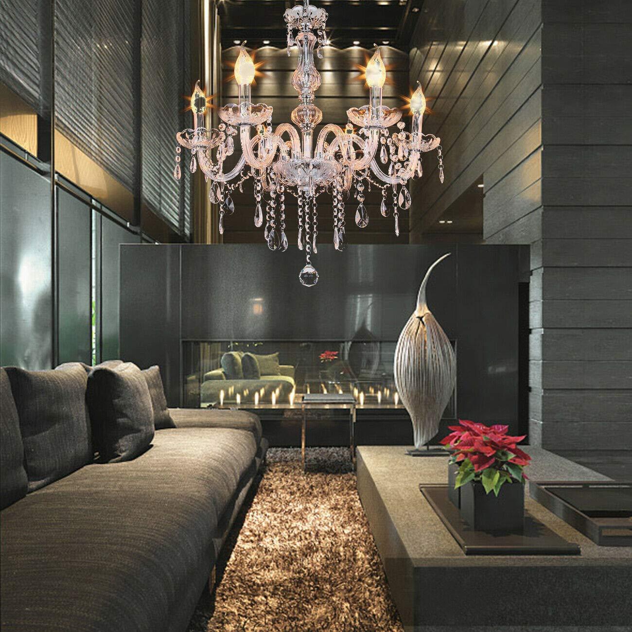 Honhill 6 Arm Chandelier K9 Crystal Light Glass Ceiling Light E14 Aisle Veranda Lamp For Living Room Bedroom Hallway Entry 220V