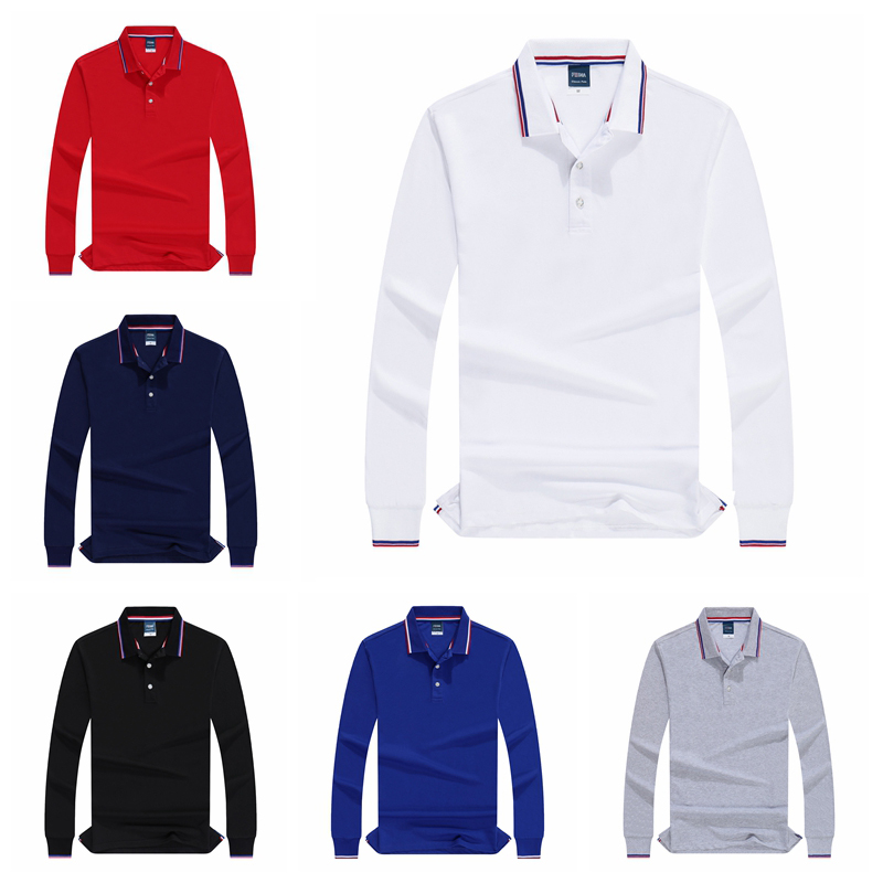 Autumn Long Sleeve   Polo   Shirts Casual Office Mens Cotton High Quality Solid Vogue Clothing 2019 New Golf Tennis Trend Sweatshirt