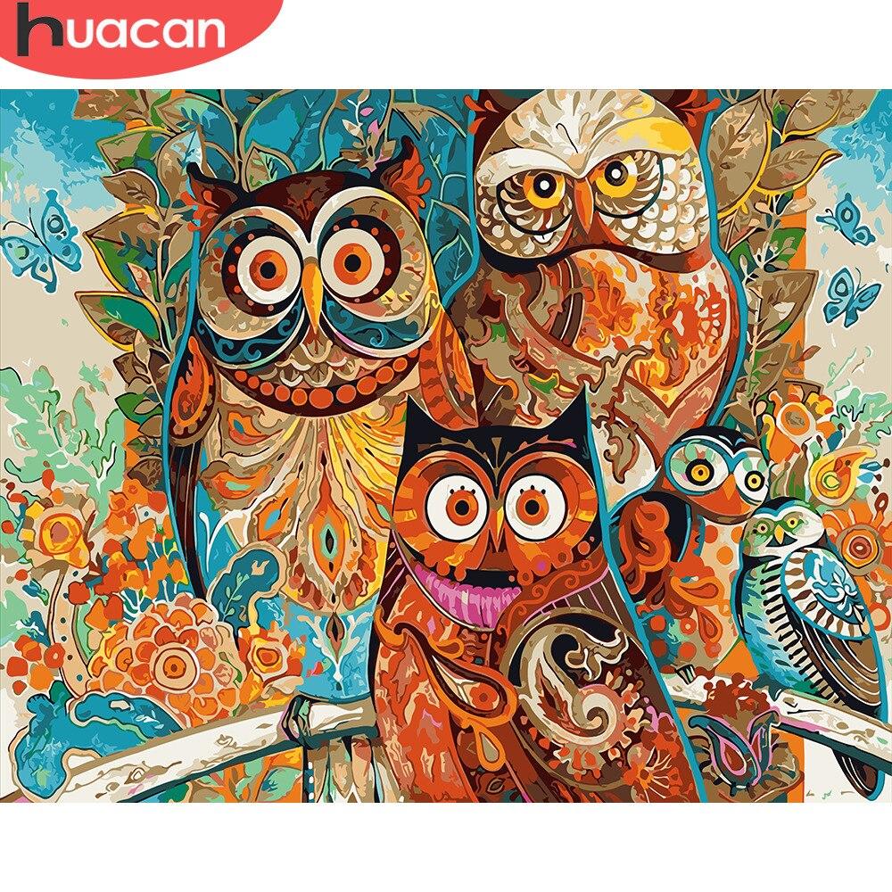 HUACAN photos par numéros hibou animaux peinture à l'huile par numéros Kits dessin toile bricolage peint à la main décoration de la maison Art
