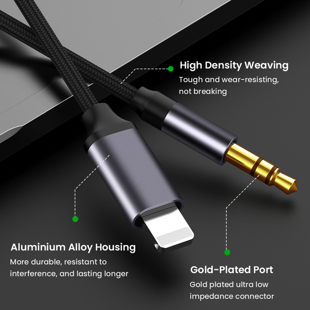 For iPhone 3.5mm Jack Aux Cable Car Speaker Headphone Adapter for iPhone 11 Pro XS XR X 12 Audio Splitter Cable for iOS 14 Above 4