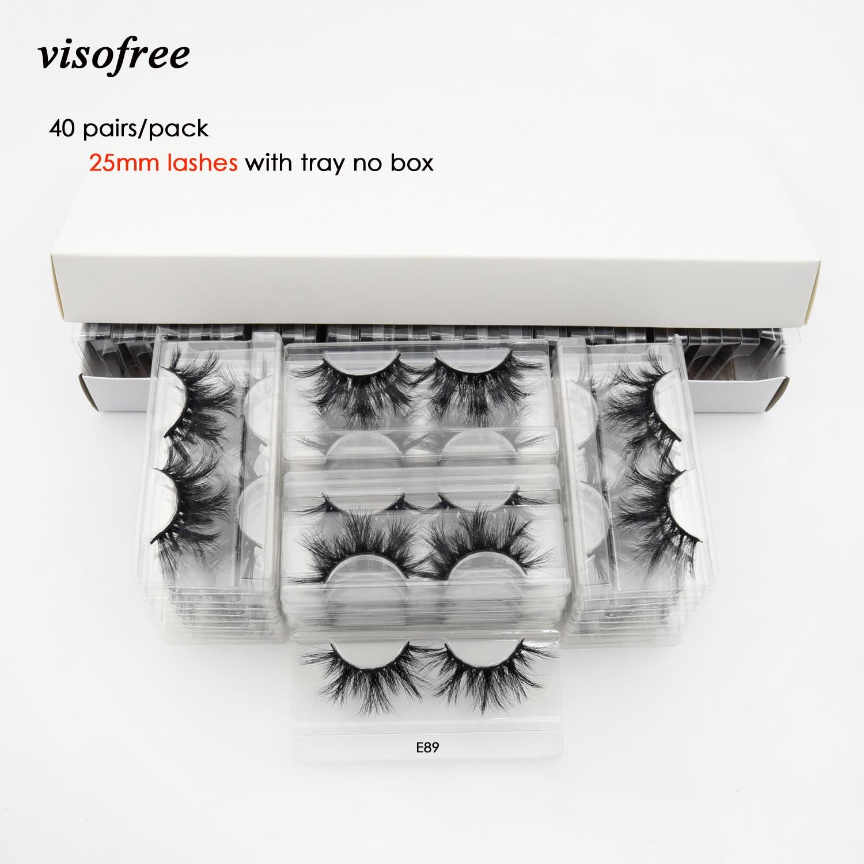 Visofree 40 Pairs/pack 25mm Lashes 3D Mink Lashes Makeup 25mm Mink Lashes Wholesale Fake Eyelashes Dramatic Eyelashes Reusable