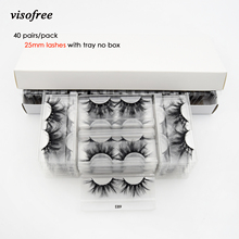 Visofree 40 Pairs/pack 25mm Lashes 3D Mink Lashes Makeup 25mm Mink Lashes Wholesale Fake Eyelashes Dramatic Eyelashes Reusable