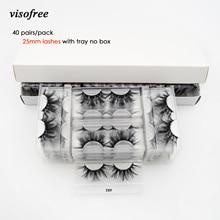 Visofree 40 par/paczka 25mm rzęsy 3D norek rzęsy makijaż 25mm norek rzęsy hurtownia fałszywe rzęsy dramatyczne rzęsy wielokrotnego użytku