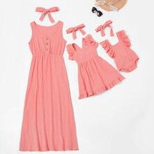 Повседневное платье на пуговицах для мамы и детей; Однотонный милый детский летний комбинезон; платье для мамы и ребенка; семейная одежда; Хлопковое платье