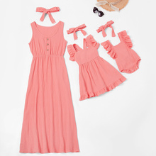 Mother and Kids Casual Button Dress Solid Matching Cute Baby