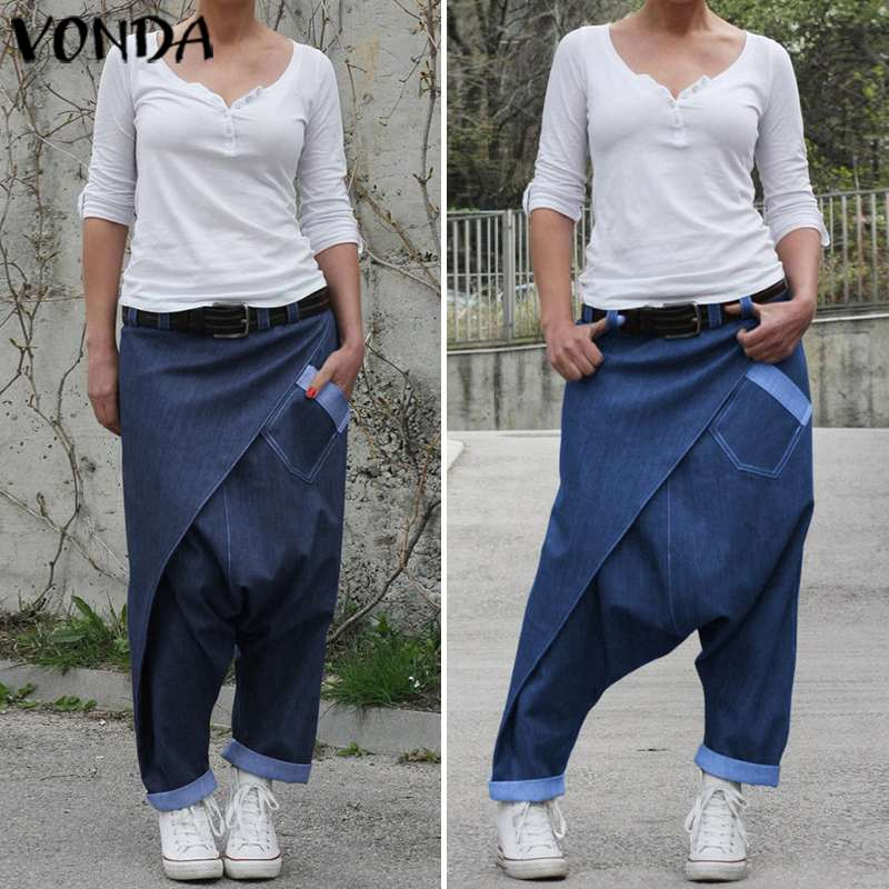 Women Plus Size Harem Pants VONDA Fashion Summer Casual Denim Wide Leg Pants Bohemian Women's Trousers Beach Streetwear 5XL