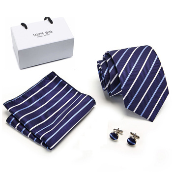 New arrival 2019 Men`s Tie 100% Silk Jacquard Woven Necktie Hanky Cufflinks Sets For Formal Wedding Business Party