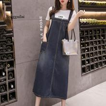 Loose Sleeveless Women Sling Denim Skirt Ladies Solid Casual Dungaree Skirt Female Overall Jeans Long Summer women jeans distressed jeans striped overall denim overall