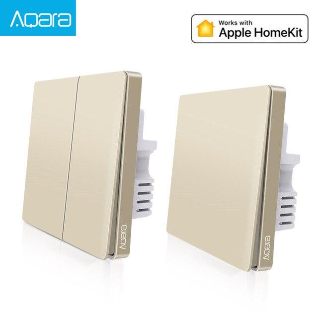2019 yeni yükseltme orijinal Aqara duvar anahtarı akıllı işık ZigBee anahtarları uzaktan kumanda altın versiyonu için apple homekit