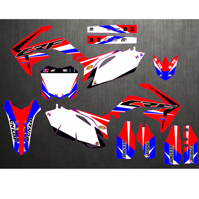 Free Customized Motorcycle Sticker Decals Graphic Kit For Honda CRF250 CRF250R 2010 2013 / CRF450 CRF450R 2009   2012 2011 2010