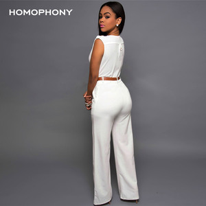 Image 2 - HOMOPHONY Women High Waist Jumpsuit Office Ladies Elegant Party Solid V neck Playsuit Summer Sleeveless Evening Party Jumpsuit
