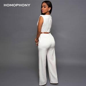 Image 2 - Homophony Vrouwen Hoge Taille Jumpsuit Kantoor Dames Elegante Partij Solid V hals Speelpakje Zomer Mouwloze Avondfeest Jumpsuit