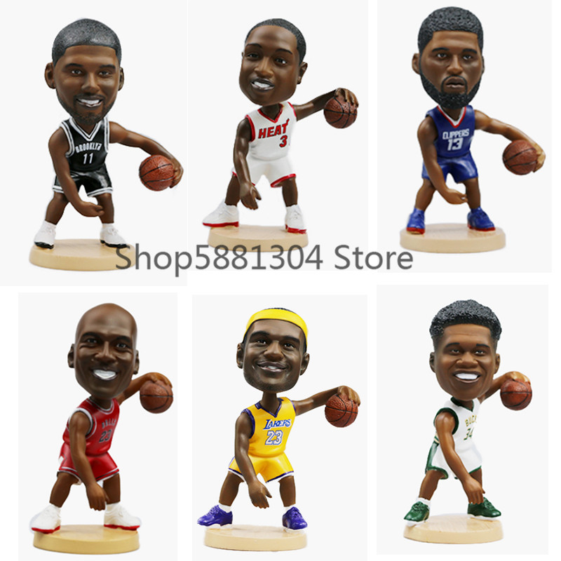 12cm Office Creative Basketball Stars Toy Figures Sport Figure PVC Toy Shake head Car Deco Model Gift High quality Doll NO BOX